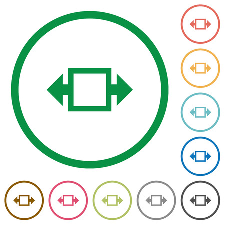 width: Set of Width tool color round outlined flat icons on white background