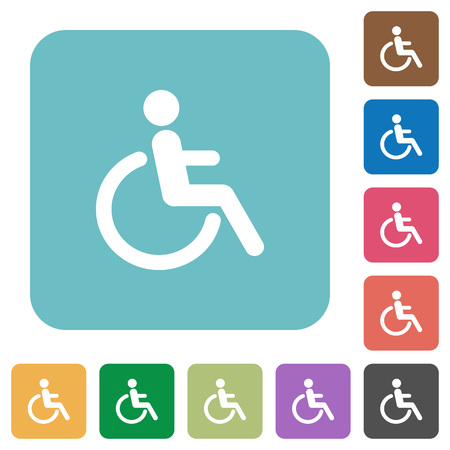limitations: Flat disability icons on rounded square color backgrounds.
