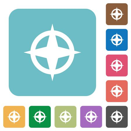 plain button: Flat map directions icons on rounded square color backgrounds.