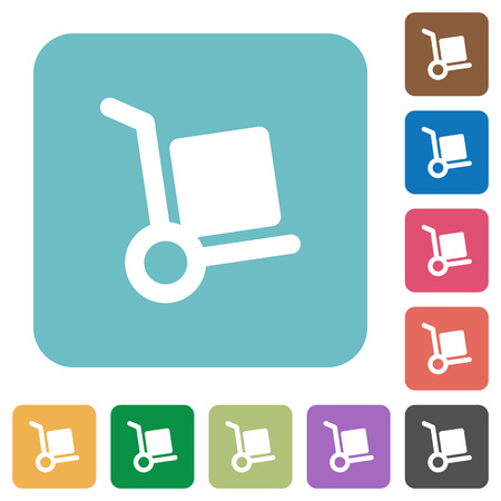 package deliverer: Flat parcel delivery icons on rounded square color backgrounds. Illustration