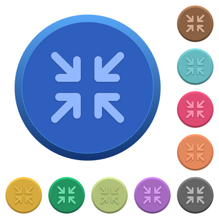 Set of round color embossed minimize buttons Illustration