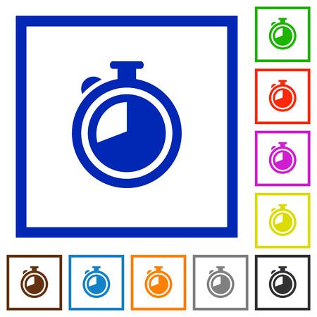 elapsed: Set of color square framed timer flat icons