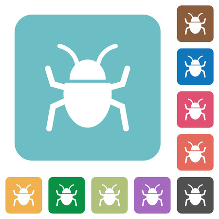 debugging: Flat bug icons on rounded square color backgrounds. Illustration