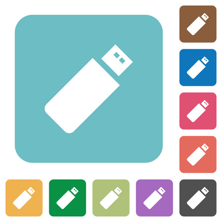 pendrive: Flat pendrive icons on rounded square color backgrounds.