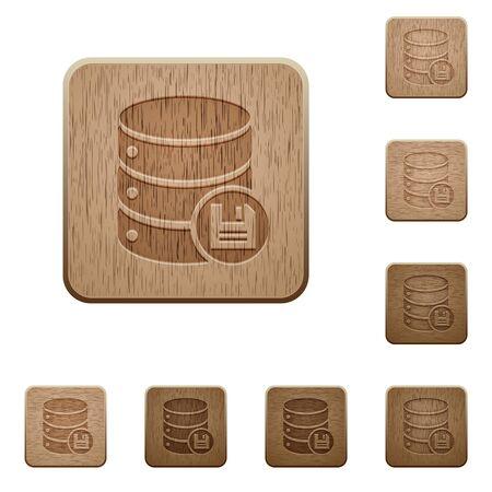 variations set: Set of carved wooden Database save buttons in 8 variations.