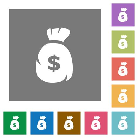dollar bag: Dollar bag flat icon set on color square background.