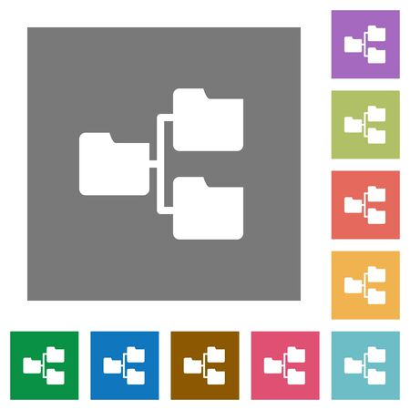 shared sharing: Shared folders flat icon set on color square background.