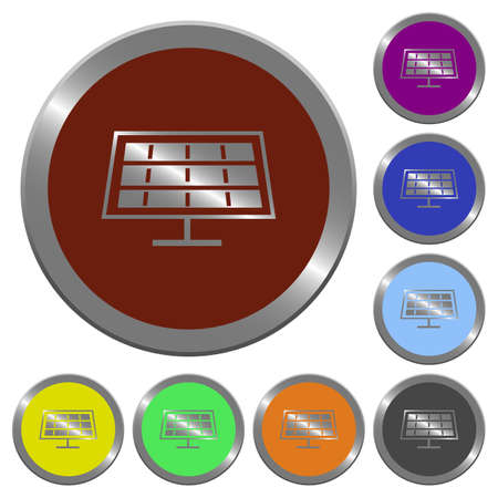 solarenergy: Set of color glossy coin-like solar panel buttons. Illustration