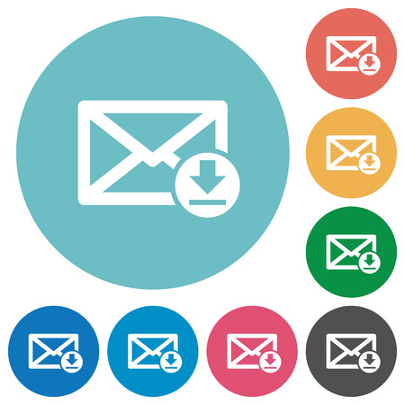 receive: Flat receive mail icon set on round color background. Illustration