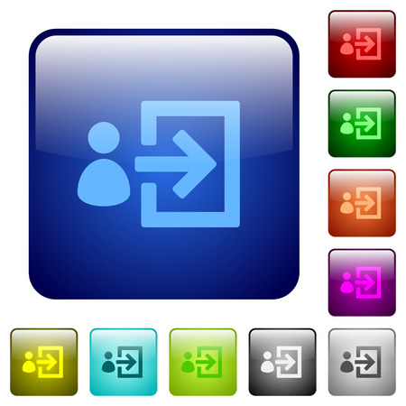 logon: Set of user login color glass rounded square buttons Illustration