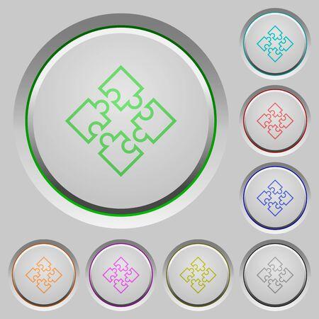 plugins: Set of color puzzles sunk push buttons.
