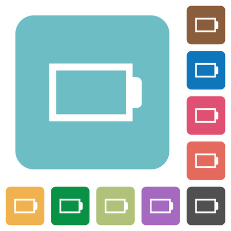 accu: Flat empty battery icons on rounded square color backgrounds.