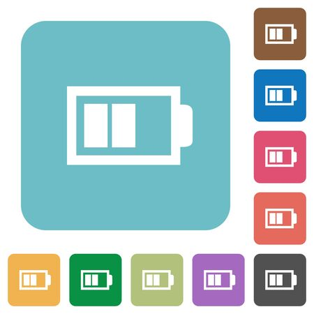 accu: Flat half battery icons on rounded square color backgrounds. Illustration
