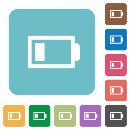 accu: Flat low battery icons on rounded square color backgrounds.