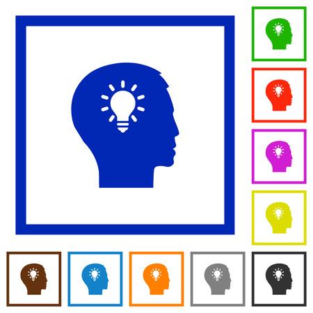 lumen: Set of color square framed idea flat icons