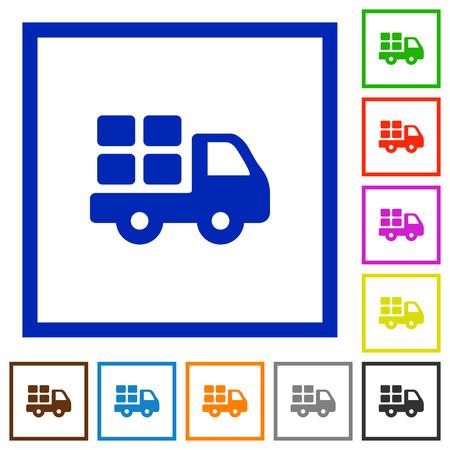 shipper: Set of color square framed transport flat icons