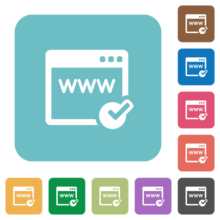 registrar: Flat domain registration icons on rounded square color backgrounds. Illustration