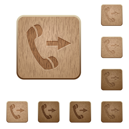 outgoing: Set of carved wooden outgoing call buttons in 8 variations.