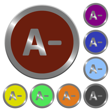 decrease: Set of color glossy coin-like decrease font size buttons.
