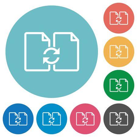 Icono de documentos Flat Swap en fondo de color redondo.