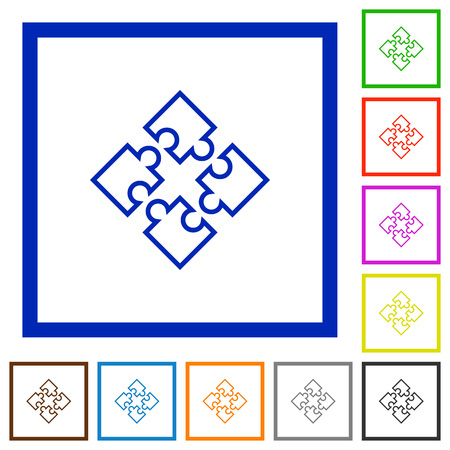 plugins: Set of color square framed puzzles flat icons