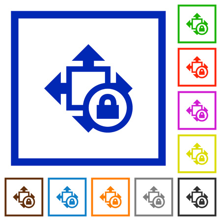 decreasing in size: Set of color square framed Size lock flat icons