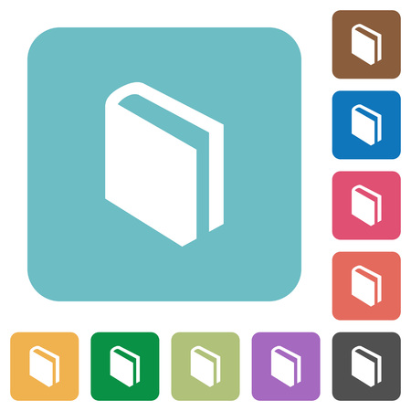 lexicon: Flat book icons on rounded square color backgrounds. Illustration