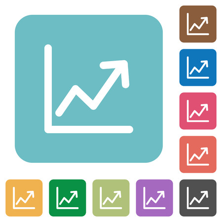 line graph: Flat line graph icons on rounded square color backgrounds.