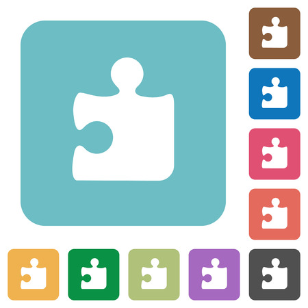 puzzle corners: Flat puzzle piece icons on rounded square color backgrounds. Illustration