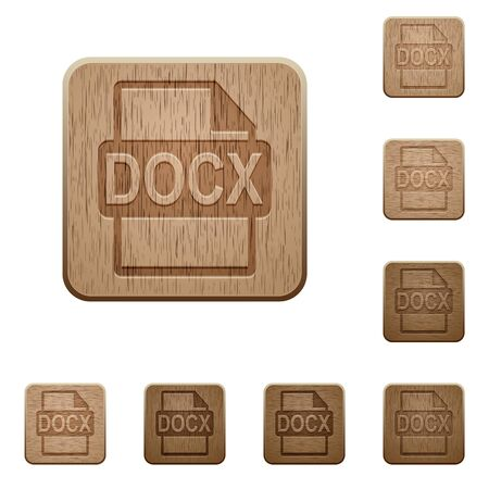 filetype: Set of carved wooden DOCX file format buttons in 8 variations. Illustration