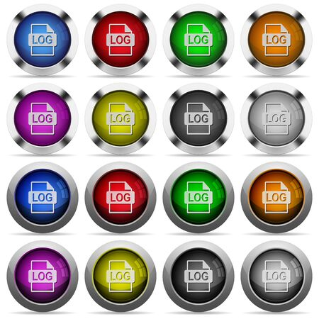 Set of LOG file format glossy web buttons. Arranged layer structure. Illustration