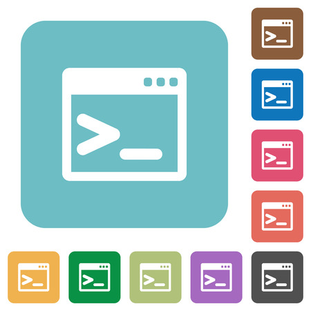command button: Flat command prompt icons on rounded square color backgrounds. Illustration