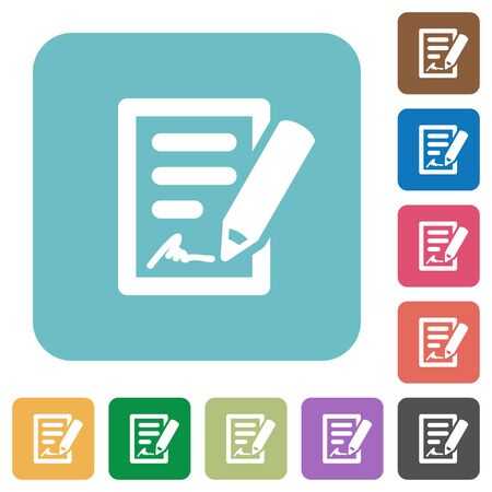 signing contract: Flat signing contract icons on rounded square color backgrounds.