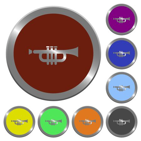 tact: Set of color glossy coin-like trumpet buttons.