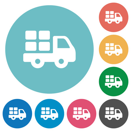 Flat transport icon set on round color background.