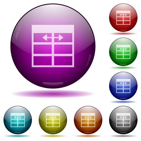 width: Set of color Spreadsheet adjust table column width glass sphere buttons with shadows.