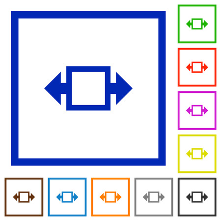 width: Set of color square framed width tool flat icons