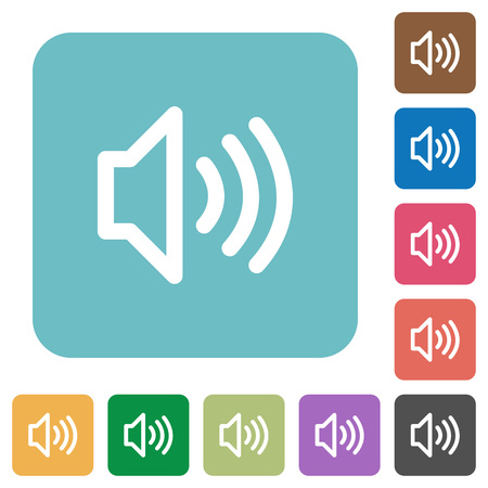 talkative: Flat volume icons on rounded square color backgrounds.