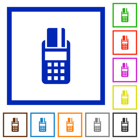 cardreader: Set of color square framed POS terminal flat icons
