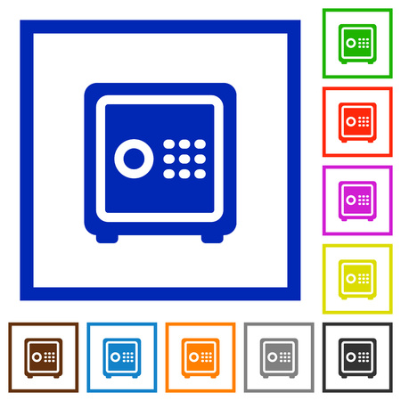 strong box: Set of color square framed strong box flat icons