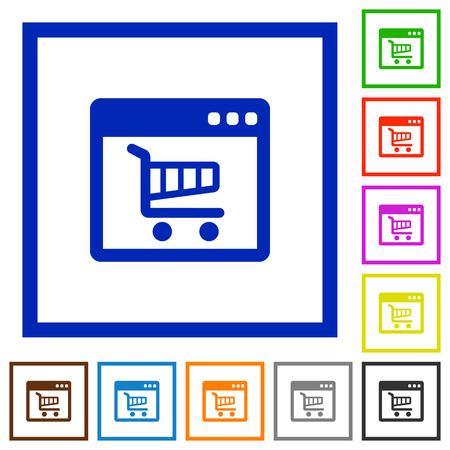 webshop: Set of color square framed webshop application flat icons