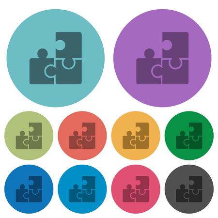 plugin: Color puzzle flat icon set on round background. Illustration