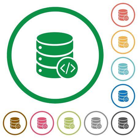 mysql: Set of Database programming color round outlined flat icons on white background