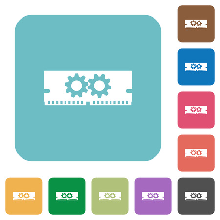 ddr: Flat memory optimization icons on rounded square color backgrounds.