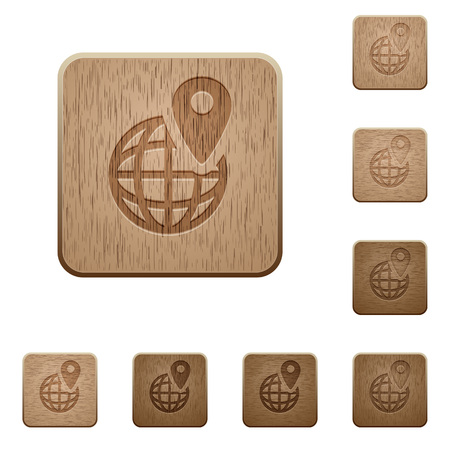 carved: Set of carved wooden GPS location buttons in 8 variations.