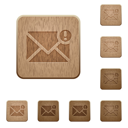 carved letters: Set of carved wooden important message buttons in 8 variations.