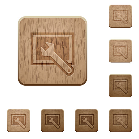 preset: Set of carved wooden screen settings buttons in 8 variations. Illustration