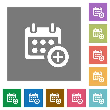 plain button: Add to calendar flat icon set on color square background.