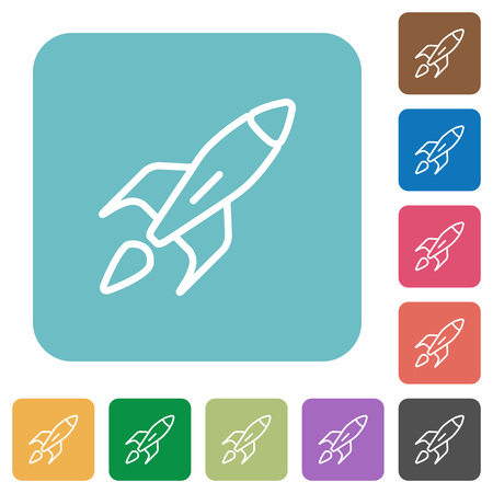 launched: Flat launched rocket icons on rounded square color backgrounds.