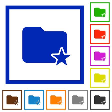 rank: Set of color square framed Rank folder flat icons